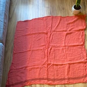 Salmon colored linen scarf